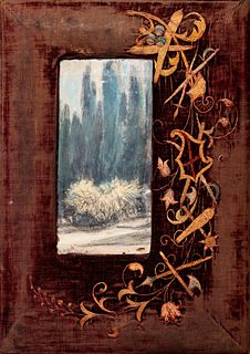 Giacomo Balla (Torino 1871-Roma 1958)  - Cypress in Villa Ambron - Landscape, 1927/'28