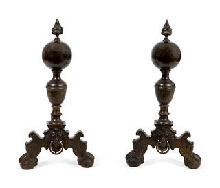 A Pair of Baroque Bronze Andirons Height 28 inches.