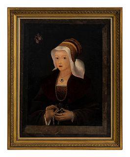 Dutch School ( After Joos Van Cleve) (16th Century Manner Tromp L'Oiel Portrait of Lady in a Cloak