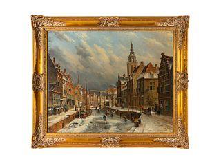 School of Willem Koekoek (Dutch, 19th Century) Frozen Canal