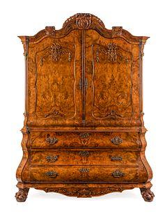 A Dutch Baroque Burlwood Cabinet Height 96 x width 74 x depth 27 inches.