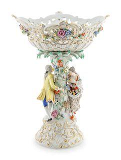A Meissen Porcelain Centerpiece Basket Height 19 inches.