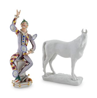 Two Meissen Porcelain Figures Height of taller 9 7/8 inches.