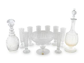An Etched Glass Stemware Service Height of tallest, approx. 9 inches.
