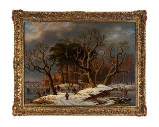Caesar Bimmermann (German, 1828-1890/99) Ice Skaters, 1867