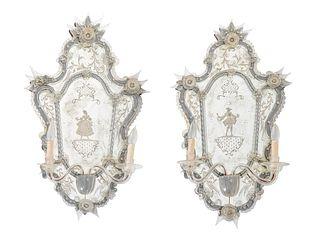A Pair of Venetian Glass Girandole Mirrors Height 36 inches.
