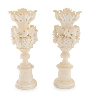 A Pair of Italian Carved Alabaster Urns Height 24 inches.