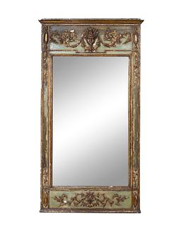 An Italian Neoclassical Painted Mirror Height 78 x width 40 inches.