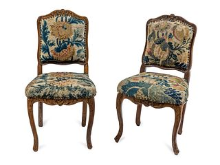 A Pair of Louis XV Oak Side Chairs