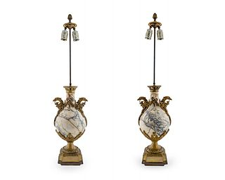 A Pair of French Gilt Bronze and Marble Urns Height overall 35 1/2 inches.