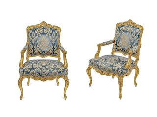 A Pair of Louis XV Style Giltwood Fauteuils Height 47 inches.