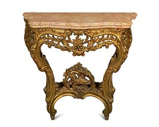 A Louis XV Style Giltwood Console Table