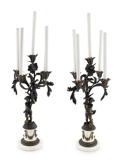 A Pair of French Bronze and Marble Five-Light Candelabra Height overall 32 inches.