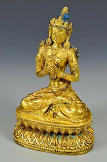 Gilt Buddhist Bronze Seated Sculpture