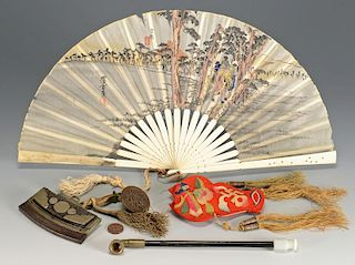 Group of 4 Asian items inc. pipe, fan