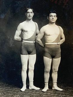 Antique Framed Photo of Circus Strongmen