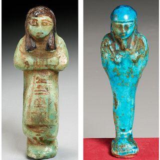 (2) Ancient Egyptian faience Ushabti, ex-museum