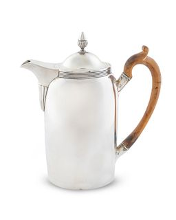A George III Silver Coffee Pot Height 9 x length over handle 8 1/2 inches.