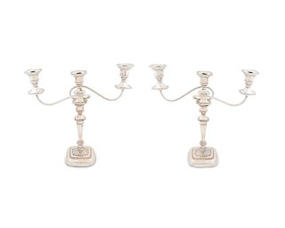 A Pair of Regency Style Silverplate Three-Light Candelabra Height 18 1/2 x width 18 x depth 4 3/4 inches.