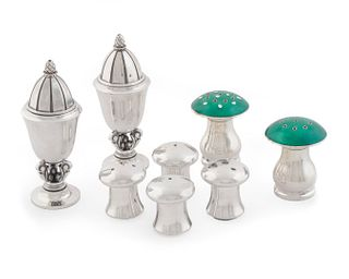 A Pair of Georg Jensen Silver Salt and Pepper Shakers Heights 1 1/4 to 3 /2 inches.