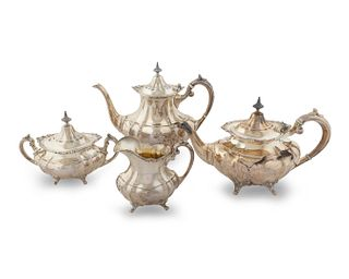 An American Silver Four-Piece Tea and Coffee Service Height of coffee pot 9 x length 11 1/8 inches