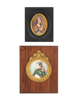 Two Miniature Paintings Framed dimensions: 6 x 4 7/8 and 8 3/4 x 7 inches