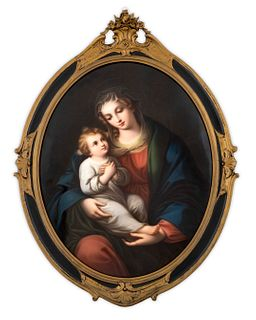 A German Porcelain Oval Plaque Depicting the Madonna and Child Dimensions of plaque 16 3/4 x 13 1/2 inches.