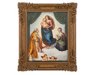 A Large Berlin Porcelain Plaque; The Madonna di San Sisto Dimensions of plaque 15 1/2 x 12 1/4 inches.