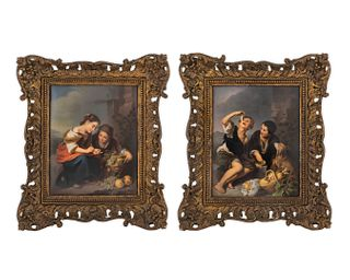 A Pair of Berlin Porcelain Plaques: The Little Fruit Seller and Boys Eating Grapes and Mellon