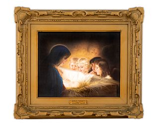 A Berlin Porcelain Plaque: Holy Night Height 8 1/2 x width 10 3/4 inches.