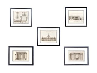 Five French Architectural Engravings 1, 2 and 5: 21 x 25 inches; 3 and 4: 16 x  21 1/2 inches.