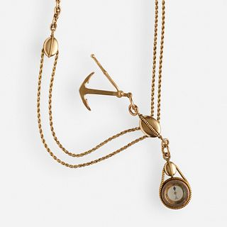 Tiffany & Co., Gold nautical watch chain and fob necklace