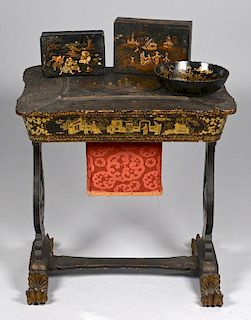 Chinese Lacquer Sewing Table w/ Gilt Decoration w/ 3 Asian Black Lacquer Items
