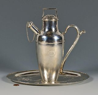 Chinese Silver Cocktail Shaker and Tray