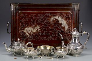 Chinese Export Silver Tea Service and Tray
