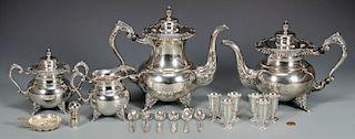 950 Silver 4-piece Tea Service plus other