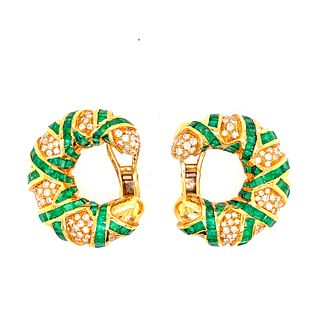 18k Gold Diamonds Emeralds Earrings