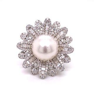 """18k Gold Diamonds Pearl """"Flower """" Ring"""