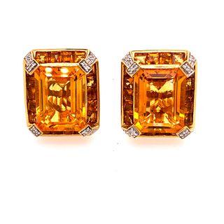 18k Gold Topaz Clip Earrings