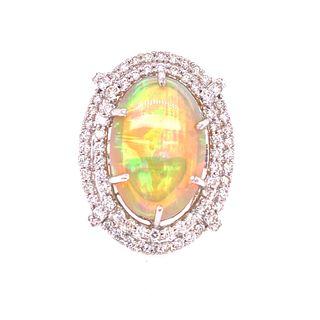 18k Gold Diamonds Opal Ring