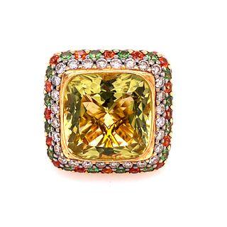 18k Gold Emerald Topaz Citrine Diamonds Ring