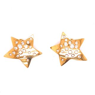 18k Gold Diamonds Star Earrings