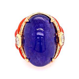 18k Gold Diamonds Coral Cabochon Tanzanite Ring