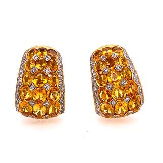 18k Gold Yellow Sapphire & Diamonds Earrings