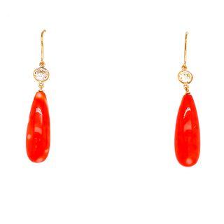 18k Gold Coral Diamonds Hook Earrings
