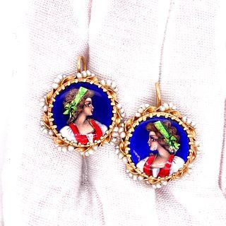 Victorian 18k Gold Enamel Girls Earrings Signed