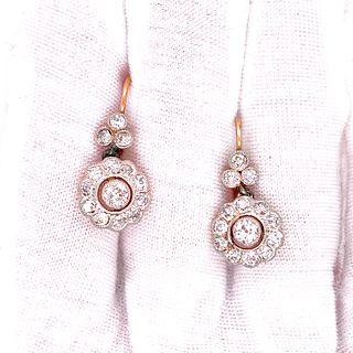 18k Gold Platinum Diamonds Rosetta Earrings