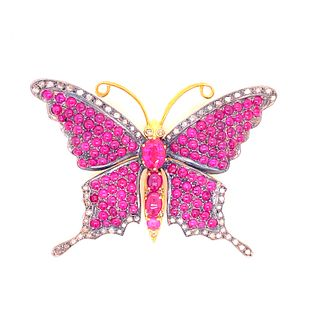 Silver and Gold Rubies Butterfly Brooch