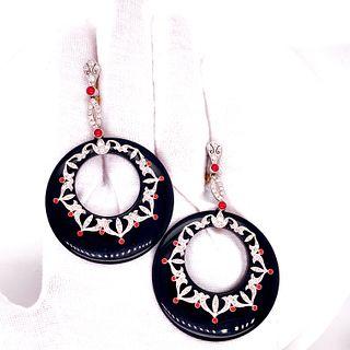 Onyx & Platinum Diamonds & Corals Doughnut Earrings