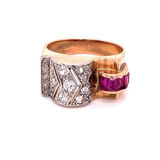 18k Gold Diamonds Retro Ring